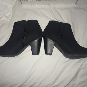 Bamboo Black Zip-Up Ankle Booties